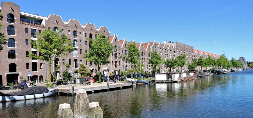 Beautiful Entrepotdok Canal in Amsterdam near Artis