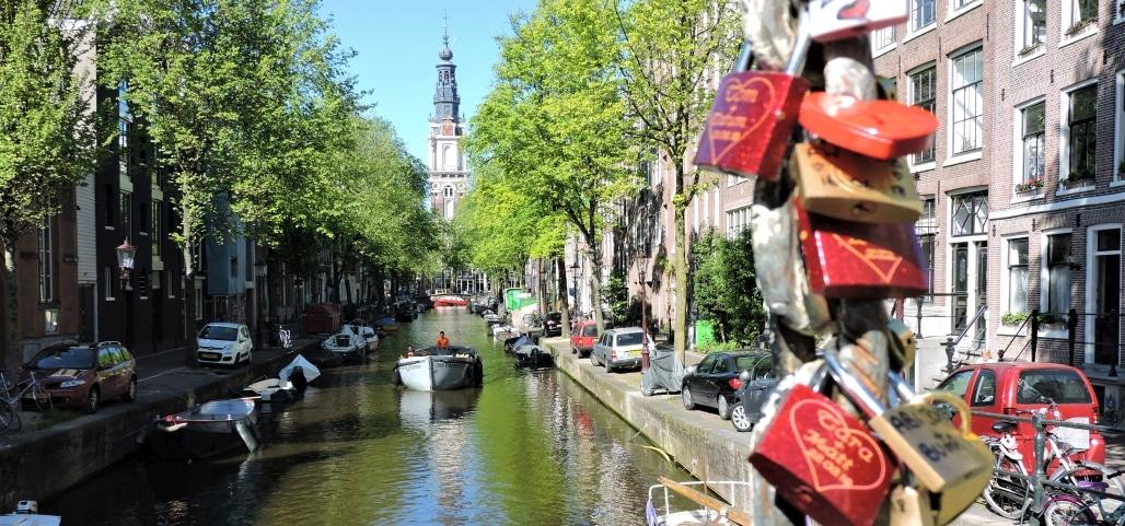 Groenburgwal Amsterdam Locks on Bridge near Red Light District