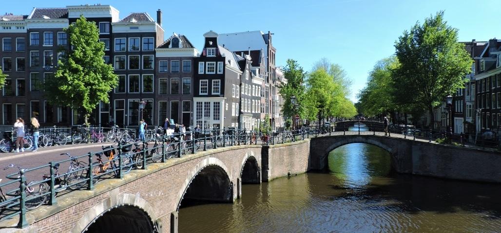Reguliersgracht with Seven Bridges View in Amsterdam