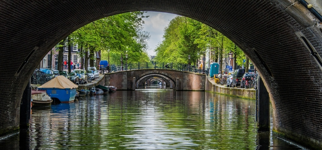 Beautiful Reguliersgracht Canal with the Seven Bridges in Amsterdam